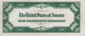 Series 1928 or 1934 $1000 bill, Reverse