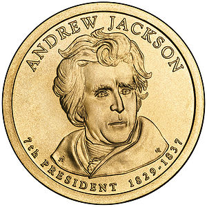 Presidential $1 Coin Program coin for Andrew Jackson. Obverse.