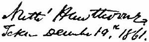 Signature of author Nathaniel Hawthorne