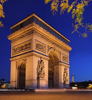 The Arc de Triomphe (Arch of Triumph), at the ...