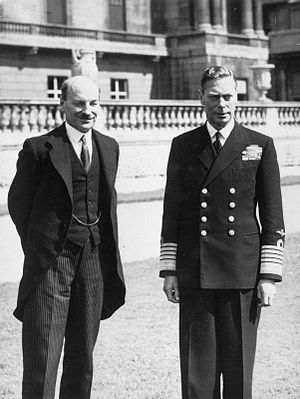 Clement Attlee meeting with King George VI in the grounds of Buckingham Palace