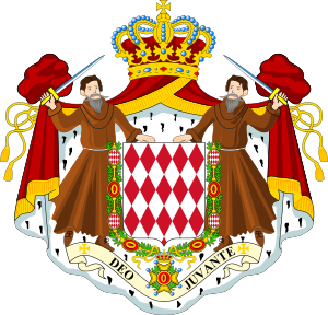 Coat of arms of the Principality of Monaco.