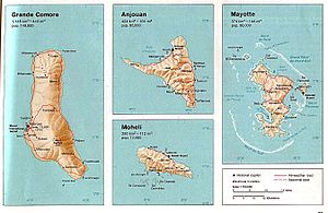 Country Map of Comoros (Grande Comore, Anjouan...