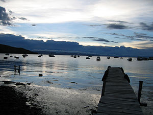 English: Lake Titicaca from Copacabana, Bolivia
