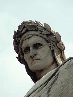 Statue of Dante in the Piazza di Santa Croce in Florence