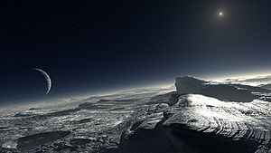 Artist's impression of how the surface of Pluto might look