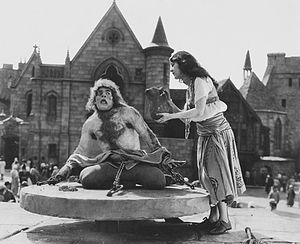 A still from the 1923 movie The Hunchback of Notre Dame