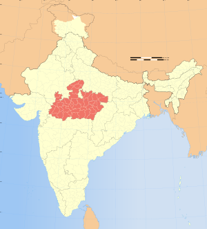 Map of India showing location of Madhya Pradesh