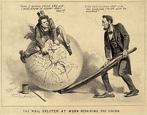 A political cartoon of Andrew Johnson and Abraham Lincoln, 1865.