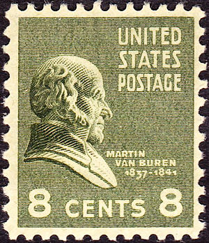 US Postage stamp: Martin Van Buren, Issue of 1938, 8 cents