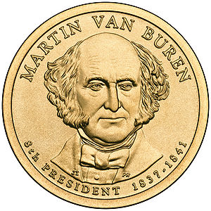 Presidential $1 Coin Program coin for Martin Van Buren. Obverse.