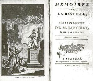 English: Title page of Linguet's Memoires sur ...