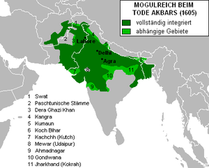 The Mughal Empire at Akbar's death in 1605. Fu...