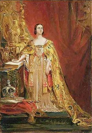Queen Victoria taking the Coronation Oath
