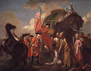 Robert Clive and Mir Jafar after the Battle of...