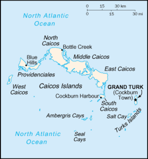 Map showing Cockburn Town's position with Turks and Caicos