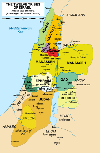 Map of the twelve tribes of Israel