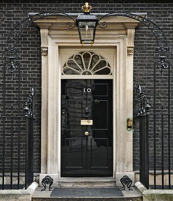 Front door of Number 10 Downing Street.