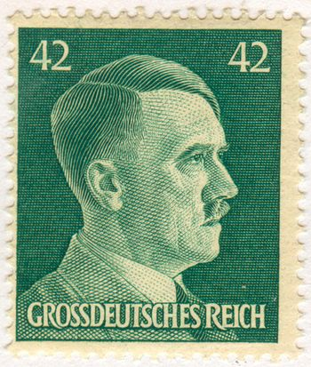 Stamp of the Greater German Reich, depicting Adolf Hitler as the Führer of the Reich.