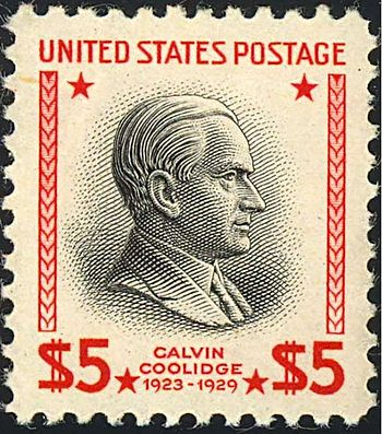 US Postage stamp: Calvin Coolidge, Issue of 1938, $5