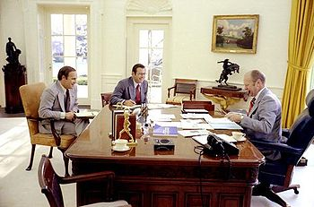 Dick Cheney, Donald Rumsfeld and President Gerald Ford in the Oval Office, 4/22/75
