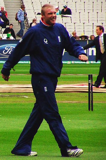 Flintoff during practice session