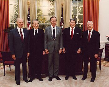 Presidents Gerald Ford, Richard Nixon, George Herbert Walker Bush, Ronald Reagan and Jimmy Carter at the dedication of the Reagan Presidential Library (Left to right).