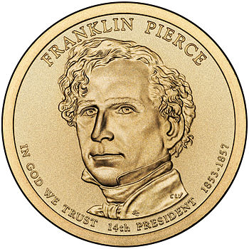 Presidential $1 Coin Program coin for Franklin Pierce. Obverse.