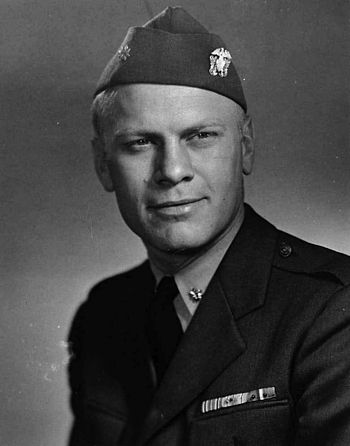Gerald Ford, as an officer in the US Navy in 1945.