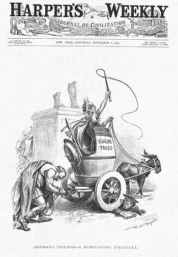 US political cartoon: President Grover Cleveland humiliated by Wilson-Gorman Tariff Act.