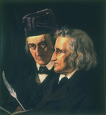 Wilhelm (left) and Jacob Grimm (right)
