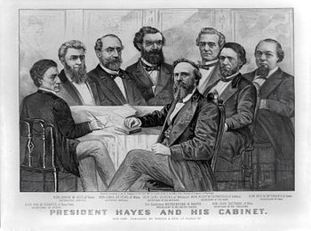 President Rutherford B. Haye and his cabinet