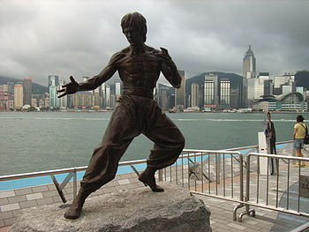 Bruce Lee's statue in Hong Kong.