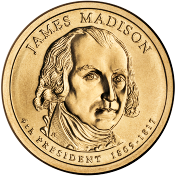 Presidential $1 Coin Program coin for James Madison. Obverse.