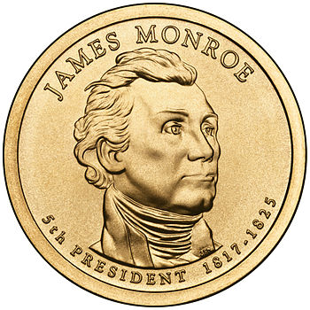 Presidential $1 Coin Program coin for James Monroe. Obverse.
