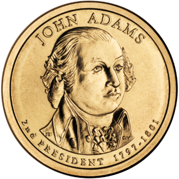 Presidential $1 Coin Program coin for John Adams. Obverse.