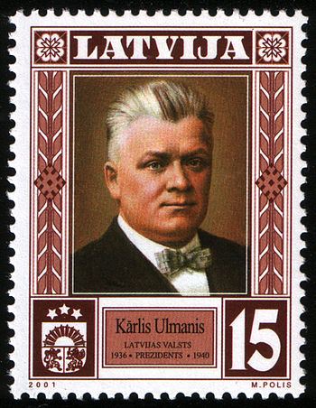 Stamp of Latvia, Karlis Ulmanis, 2001