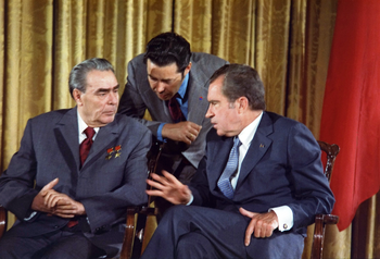Richard Nixon meets Leonid Brezhnev June 19, 1973 during the Soviet Leader's visit to the U.S.