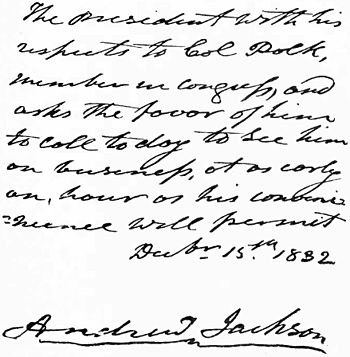 Letter of United States President Andrew Jackson to James Knox Polk (future President)