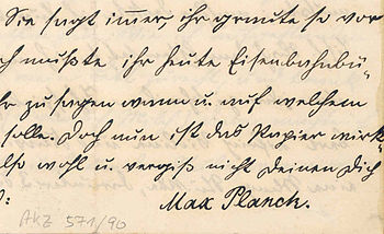 The signature of Max Planck at 10 years of age.