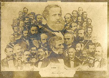 Emperor Dom Pedro II of Brazil surrounded by the main national politicians
