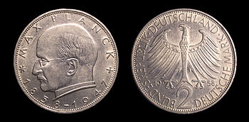 The Max Planck two Deutsche Mark coin