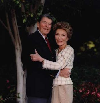 Former President Ronald Reagan and First Lady Nancy Reagan in Los Angeles, California