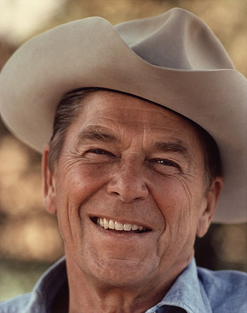 Ronald Reagan wearing cowboy hat