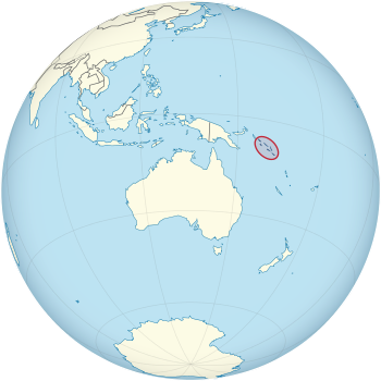 Location of Solomon Islands on the globe.