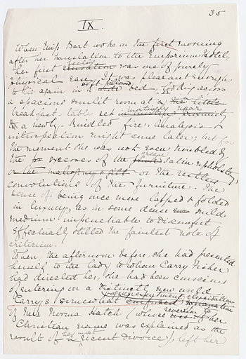 "Page from the original manuscript of ""The House of Mirth,"" written by the American author Edith Wharton."