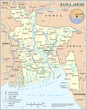 Map of the People's Republic of Bangladesh
