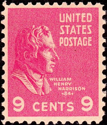 US Postage stamp: William H. Harrison, Issue of 1938, 9c