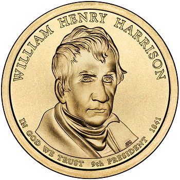 Presidential $1 Coin Program coin for William Henry Harrison. Obverse.