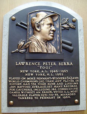 Yogi Berra's Baseball Hall of Fame Plaque.